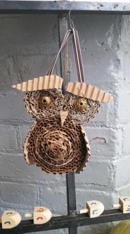 rolled carboard owl